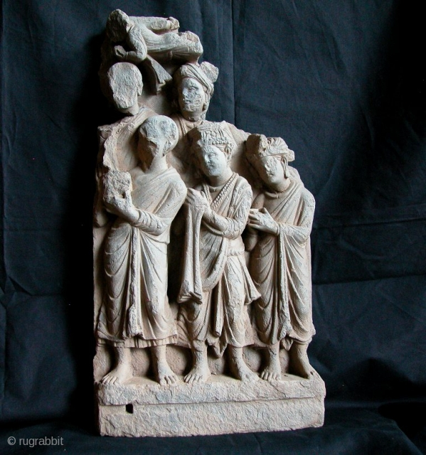 "Grey Schist Gandhara Frieze, 2nd to 3rd Century. Afghanistan/Pakistan Border area. 24""tall(61cm) x 12""(31cm). Please contact us for more information and photos."