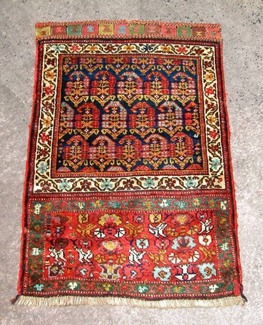 """Very beautiful NW Persian Kurdish Bagface, 19th century. Excellent condition, full pile. 2' 0"""" x 2' 10""""."""