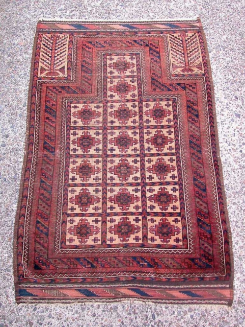 """Baluch Prayer with """"aina gul"""" design. No repairs. 2'9"""" x 4'2"""". All natural dyes."""