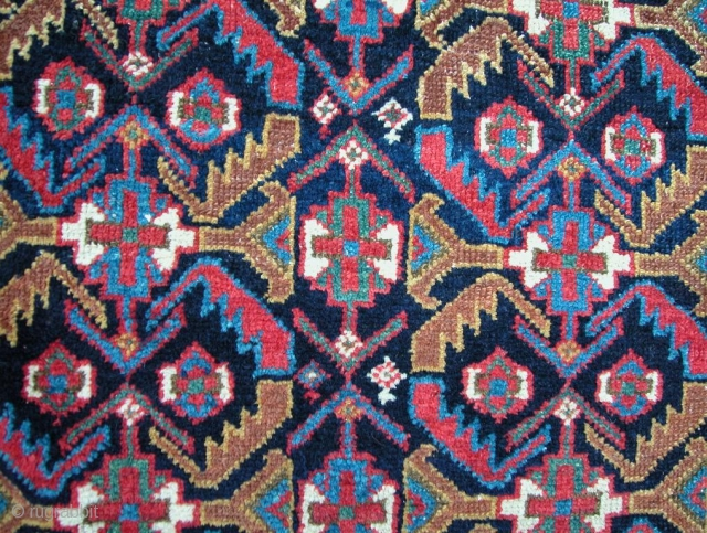 """Early Afshar Rug, 1st half 19th century, SW Persia. Handspun cotton and wool wefting. Superb natural colors with varying shades of greens and blues. A few minor restorations done very well. 6'3""""  ..."""