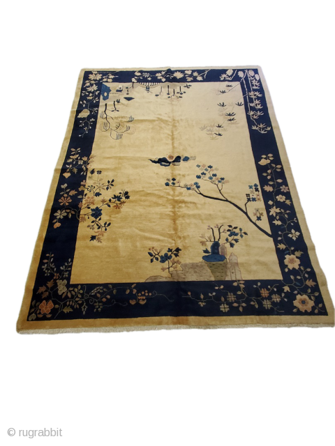 """Lovely and unique beige and navy Chinese carpet  Origin - China; Circa - 1920; Size - 8'8"""" x 11'5"""""""