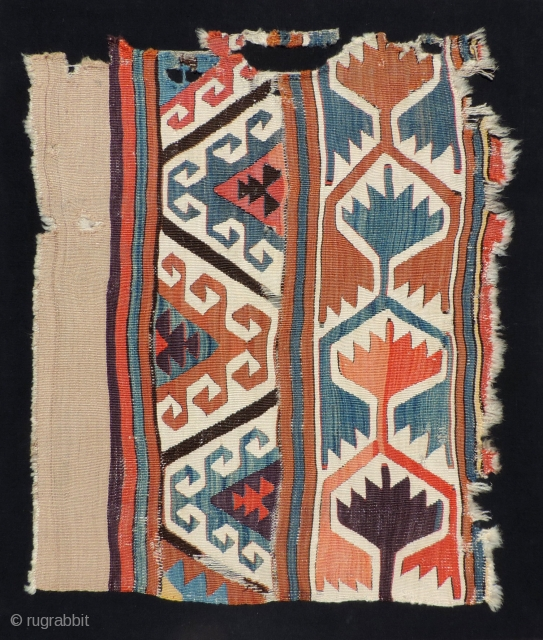 Early Anatolian kilim fragment with good,  large scale motifs and camel hair band.  Mounted size: 31 x 36 inches.  Reasonable.