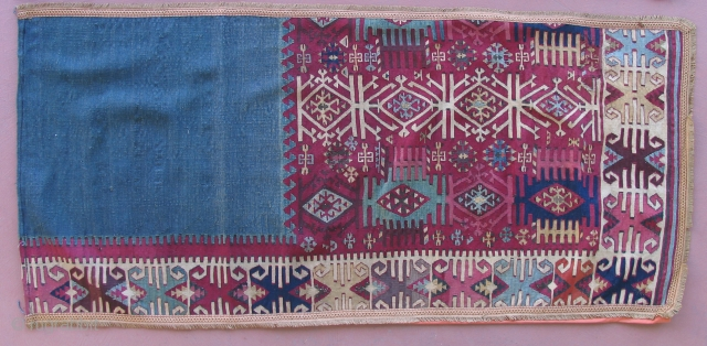 Anatolian Kilim made into divider curtains.  19th century.  Reyhanli area.  Te half kilim was cut and a lining with hooks for hanging was sewn to each piece.  A  ...