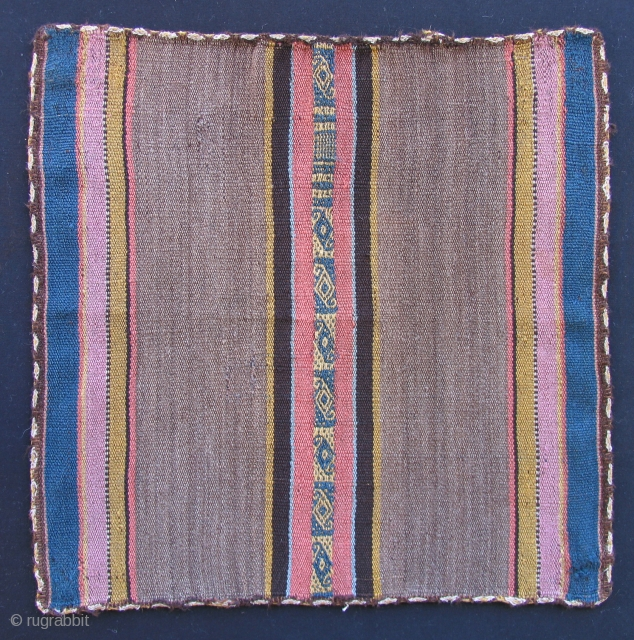 Aymara Ceremonial coca cloth (Tari or Incuna)  Bolivia, Southern Altiplano, Salinas Garcia de Mendoza Region.  19th century. Size: 14 x 14 inches.   This sweet little piece is from  ...
