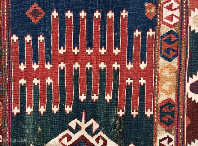 Early Anatolian Kilim Fragment.  Beautiful green ground panel with a bold, vigorous design. The colors are all very nice and the condition is good.  This piece is easy to display  ...
