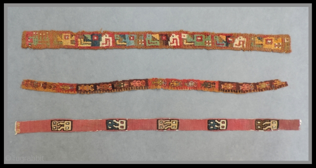 Pre-Columbian narrow textile bands.  Three different weaves - three different cultures. Top: Wari Culture pile headband with alternating profile heads of feline and Harpy Eagle imagery - 19 x 1.5 inches.  ...