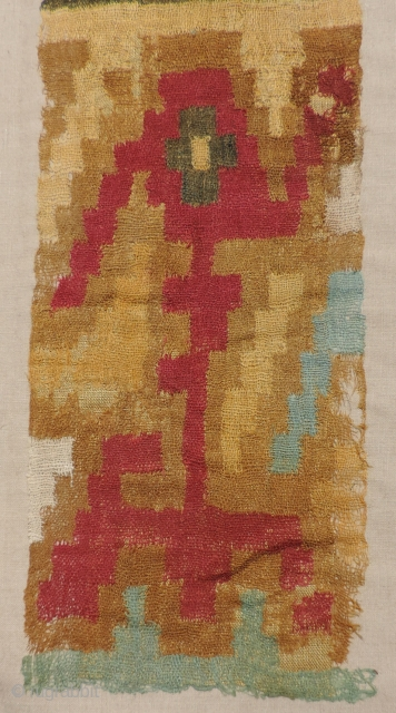 Very fine and delicate pre-Columbian textile in a gauze-like weave with discontinuous warp and weft.  A.D. 200 - 800. The design is likely an abstract zoomorphic representation - possibly a bird-like  ...