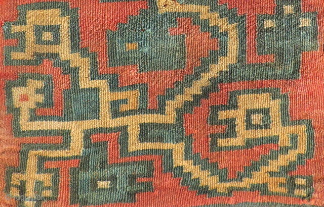 Fine Pre-Columbian tapestry bag. Nasca Culture A.D. 400 - 800. Stylized interlaced zoomorphic figures.  Size: 7 x 9 inches.