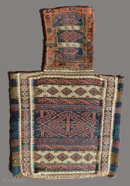 Very good, fine 19th century Baluch salt bag.  With delicate, subtle detail work throughout. All colors excellent. It has a palette that is different from most. There is no fading in  ...