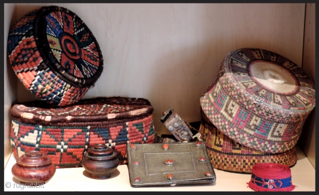 Everything in this image is $500 or less.  Seen here are South Persian baskets with all dyes natural.  Hadj hats finely worked. Very old miniature Tibetan bowls . Tekke Amulet  ...