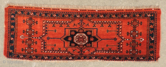 Middle Amu Daria trapping.  19th century.  Beautiful soft wool and strong natural colors.  Finely woven and nearly complete - missing a bit along the bottom. 60 x 20 inches.  ...