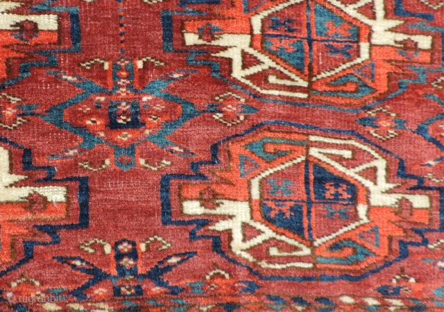 Turkmen nine gul juval.  Middle Amu Daria region. Good age, good color, good wool, good pile, good price.  Missing sides and ends.  Size: 47.5 x 24 inches.