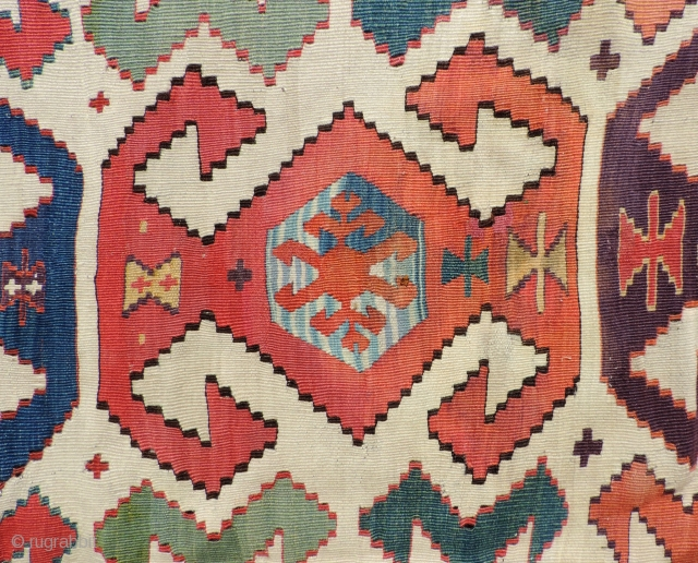 Early 19th century white ground Anatolian Kilim.  The piece has great colors and the proportions and scale of the weaving are right. The well balanced composition lends a sort of rhythmic,  ...