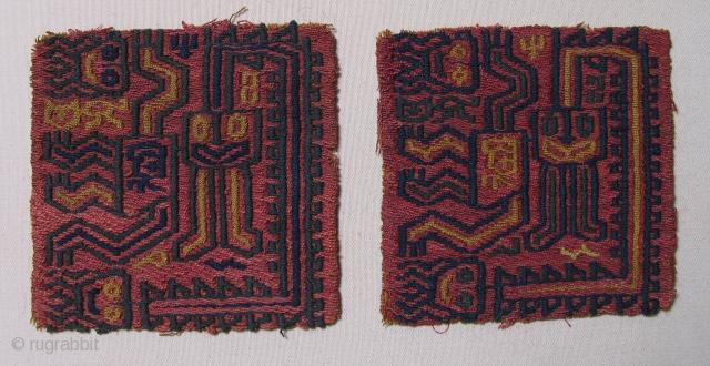 Paracas Shaman Twins, BC 300 - 100 BC.  3.25 inches square.