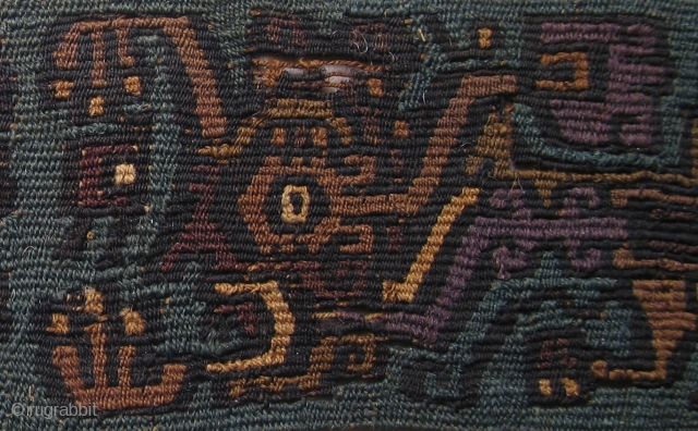 Exceedingly Rare Pre-Columbian image. Peru, unknown culture, fragile condition, unique color palette. An image that you won't see elsewhere. One in a million. For the specialist collector. Clean, needs conservation. Priced well.  ...