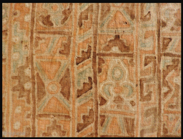 Pre-Columbian painted textile with bird, fish and geometric motifs. Subtle color palette and interesting Eschar-like composition. 21 x 20 inches. Painted on a handspun cotton ground cloth, conserved and mounted to a  ...