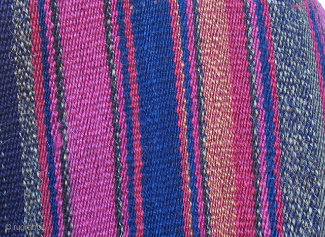 Aymara Mantle, (Wallas) Altiplano region Bolivia, 19th century.  Unusually varied colors with lots of bi-chrome alpaca yarns seen in these details, some shot in shade and some shot in the sun  ...