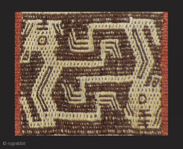 "Pre-Columbian bag. a.d. 1000 - 1400. a very large, ceremonial coca bag (17"" x 11"") with fantastic creatures that are different on each face of the bag. This rare mixed technique tapestry  ..."