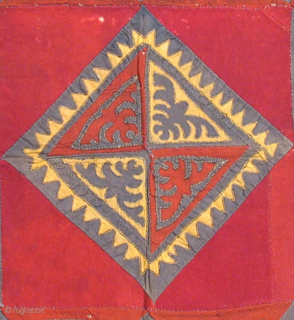 Khirgiz Applique Square.  Old colors.  Wool, cotton. metal thread. As is.