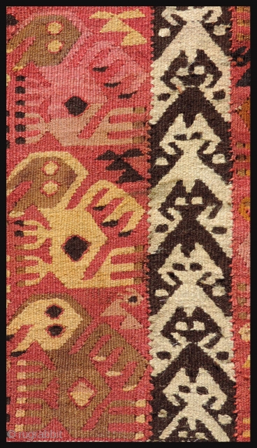 Pre-Columbian tapestry textile.  Pachacamac - Rimac Culture, Peru, A.D. 1000 - 1400.  Three panels joined together with coastal bird images.  Conserved to a backing and professionally mounted. Size 25.5  ...