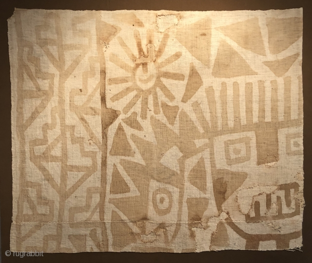 Fragment of Pre-Columbian painted textile.  Evocative imagery.  A.D. 500 - 900.  Size: 33 x 29 inches