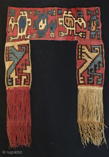 Unusual Nasca/Wari tapestry textile object.  A.D. 500 - 800.  Mounted. Size: 20 x 14 inches framed.