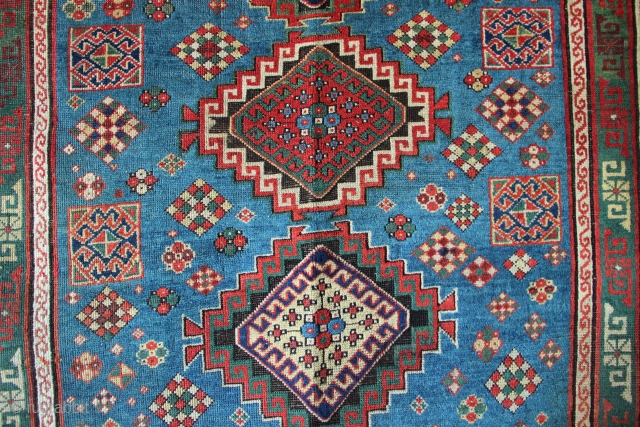 "Very pretty light blue Kazak, 19th century, low pile/flat allover, beautifully and expensively restored, now ideal floor covering. Big size at 5'7"" x 8'8"""