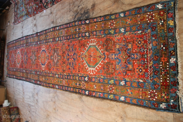 "Heriz runner, woollen foundation, in excellent condition. Original ends and sides. 14'0"" x 3'3"""