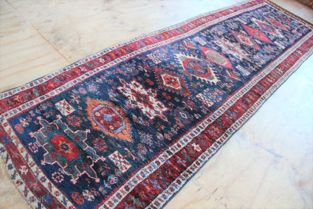 """Fantastic mid 19th century Karadja runner 3'5"""" x 12'7"""" in extraordinary full pile, original ends and sides. Please contact for price and more pictures."""