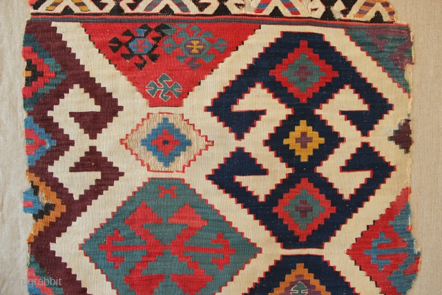 Circa 1800 Anatolian kilim fragment, recently cleaned and mounted on linen. 103 x 180cm