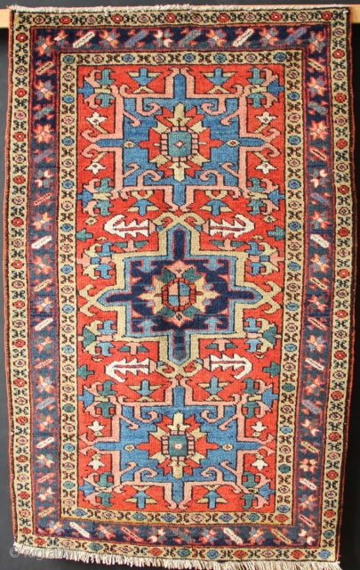 "Small Heriz rug in unusually good condition- all original, untouched. Circa 1920 2'10"" x 4'7""/ 86 x 139cm"