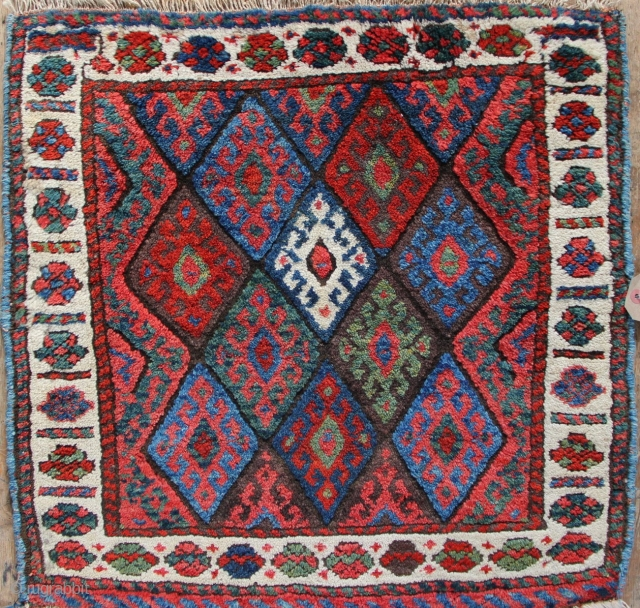 "Antique Jaf Kurd bagface in full, full pile with lovely all natural dyes. 2'0"" x 2'0"""