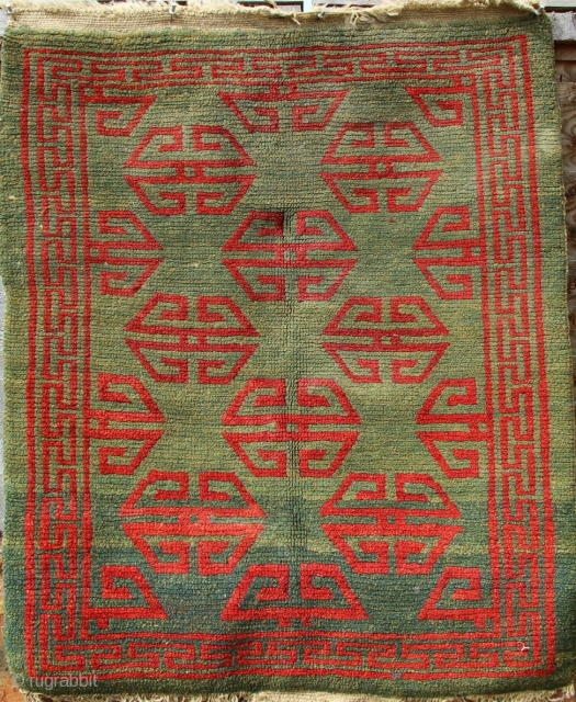 19th century Tibetan saddlerug in perfect condition, no repair. 62 x 72cm. Only needs a deep clean, fresh from a collection to the market.