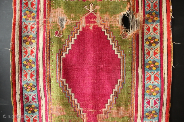 "Kirsehir rug, Western Anatolia, circa 1850. Nice old little rug, with striking graphics which still read well despite the wear. 4'6"" x 3'0"""
