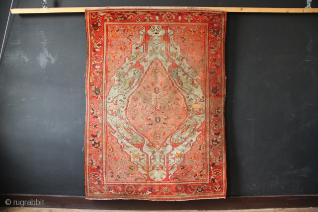 Very fine quality Malayer ca 1920. Some small spilts, wear and an old repair. Approx 4' x 6'