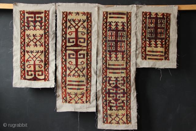 Group of four Tekke Tentband fragments, circa 1800.