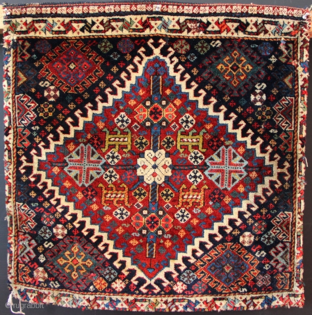 An early Khamseh bagface, with its twin, in slightly worse condition. Wool and dyes are top-notch!