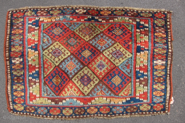 "Large, wild Jaf bagface. Outstanding colour and wool late 19th century 3'5"" x 2'1""