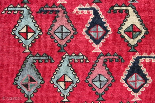 "Antique fine Karabagh runner, circa 1890, with cochineal field and lively stylised botehs allover the field. I like the naively drawn oak leaf border, very charming. 3'5"" x 9'6"". Low pile, missing  ..."