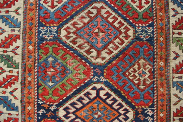 "Beautiful antique Moghan runner, with repairs- see pictures. 3'6"" x 9'10"""