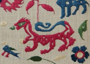 early 18th century Epirus embroideries, mounted. See them at Arts! 