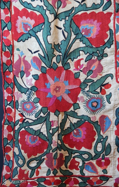 An early 19th century Shahrisabz ascending flower suzani in near perfect condition, with stunning colour and drawing. Please email for more details