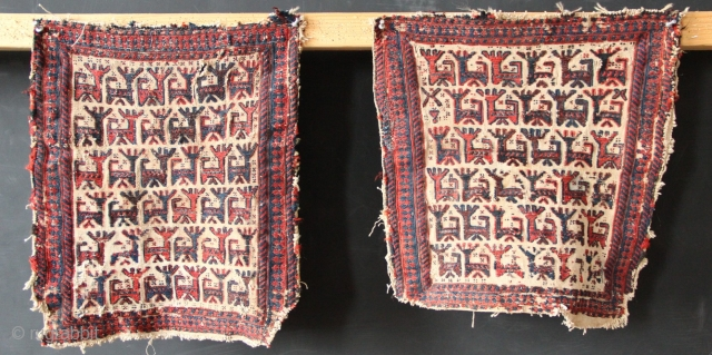 A pair of lovely Afshar bagfaces with herds of opposing goats.