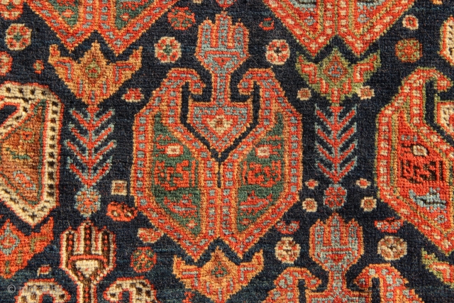 Superb small Afshar rug circa 1860. For more information, please look here: www.jamescohencarpets.com