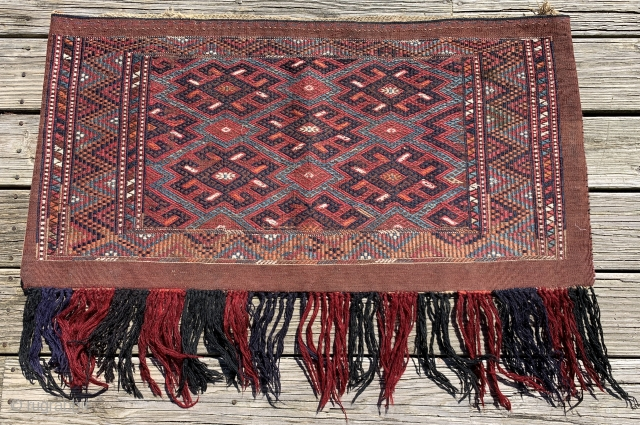 """Turkmen, Yomut Torba. 39 1/4"""" x 20 3/4"""" Early 20th ca. Stunning and pristine! borders done in 3-1 """"zili"""" overlay brocade with overlay-underlay brocade in the central panel."""