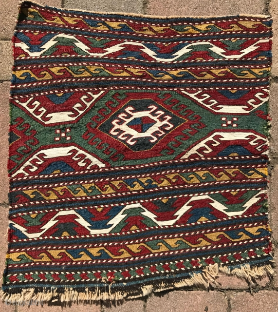Shahsavan mafrash end panel. Exceptional colors and color combinations, including a brilliant red and excellent green. White is cotton. Finely woven. Very fluid drawing. 18x20in.