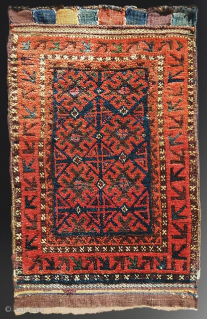 "Antique Baluch Balisht, 61cm X 96cm (24""x38""). Dense, radiant wool, saturated dyes, good color and age.  Pristine condition"