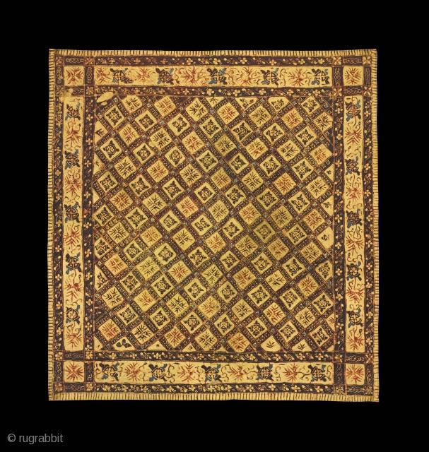 TE02045 1900 - 1930's Saputangan Batik Tulis, cotton with hand drawn wax resist geometric pattern. Natural dyes. Peranakan Chinese, North Coast Java, for Peranakan people of Java or Peranakan people of Palembang, in  ...