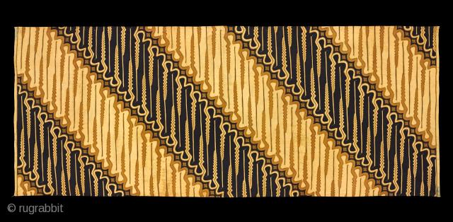 TE02366 1950-60s Kain Panjang or Lepas Batik Tulis, woman's or man's hip wrapper, cotton hand drawn wax resist parang rusak barong pattern.  Natural dyes, Java people, Solo, central Java, Indonesia.  102 x 254  ...