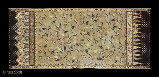 TE02044 1930 - 1940's Kain Panjang Batik Tulis, cotton with hand drawn waxed resist pattern of birds among flowering plants on the repeat banji or swastika background. Natural dyes. Peranakan Chinese, North Java,  ...